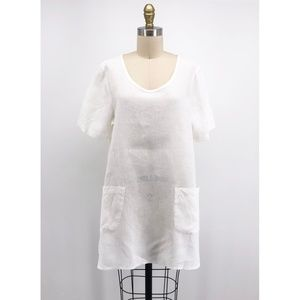 FLAX White Linen Pocket Tunic Shirt Lagenlook